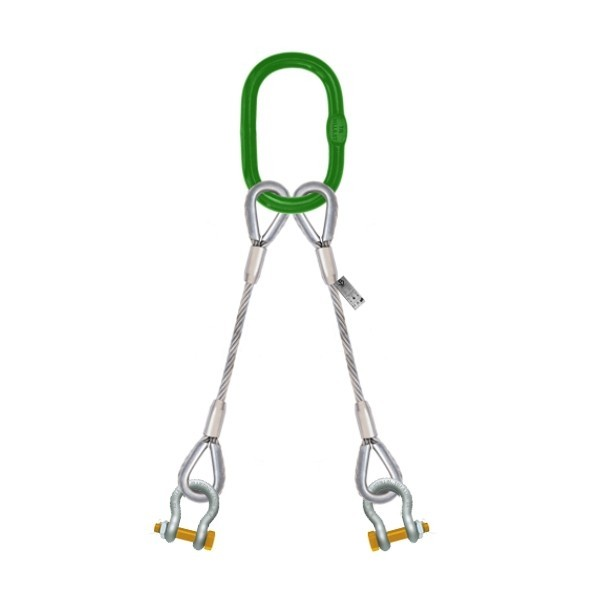 2 leg steel wire rope sling with shackle