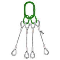 4 LEG STEEL WIRE ROPE SLING WITH THIMBLE EYES