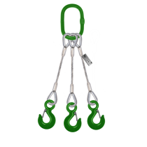 3 LEG STEEL WIRE ROPE SLING WITH HOOK
